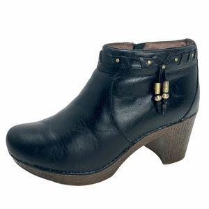DANSKO Dabney Black Leather Booties. SZ 39 / 8.5-9
